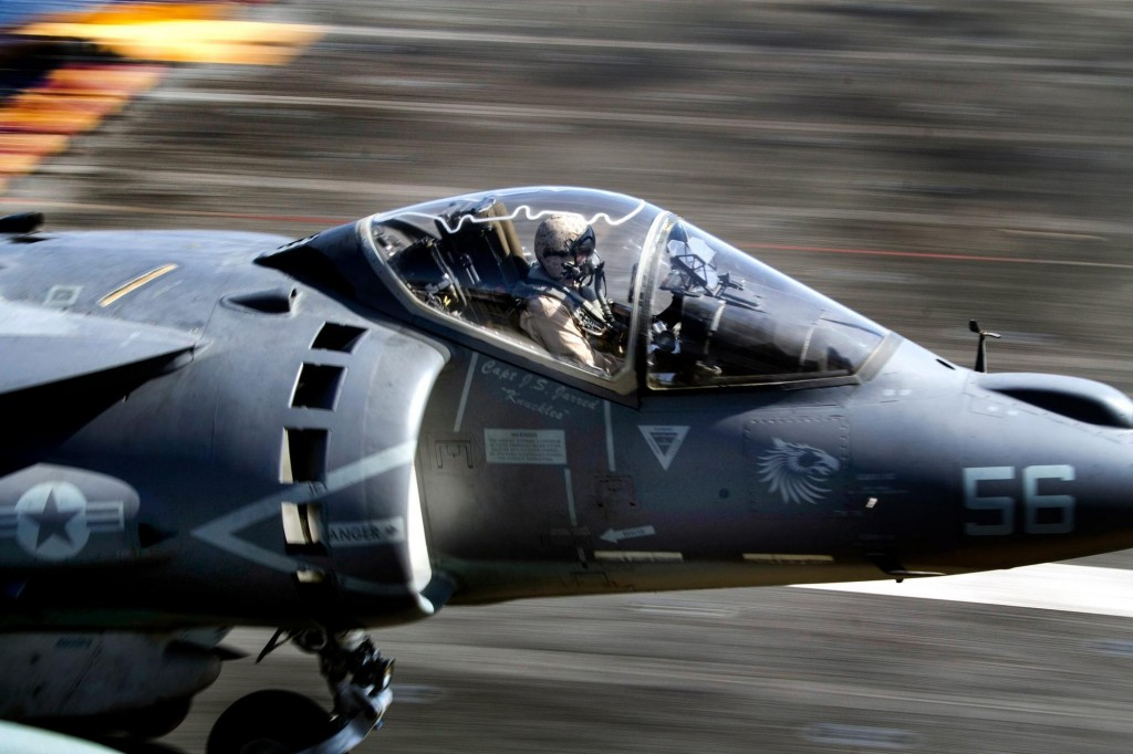 """Picture of Capt. J.S. """"Knuckles"""" Jerred taking off in his jet"""