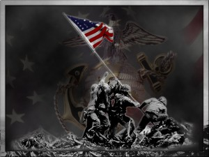 Picture of Marines raising flag at Iwo Jima
